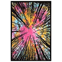 Exclusive Psychedelic Multi Color Tie Dye Forest Tapestry Beautiful Indian Wall Art Perfect For Gift Hippie Wall Hanging Bohemian Bedspread Wall Decal Tapestry