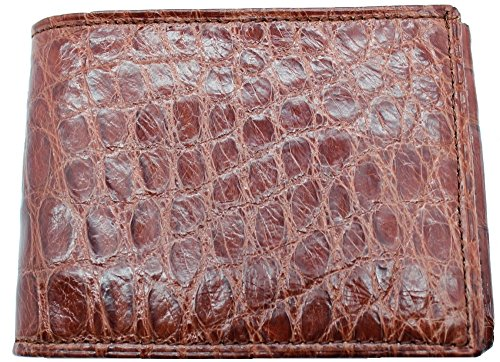 Genuine Alligator Slim Bi-fold Wallet – Factory Direct – Gift Box - Billfold Bifold Money Holder - Made in USA by Real Leather Creations DCRI1 by Real Leather Creations