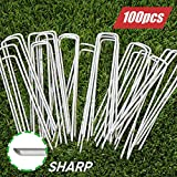6 Inch Garden Stakes Galvanized Landscape Staples,U-Type Turf Staples for Artificial Grass, Rust Proof Sod Pins Stakes for Securing Fences Weed Barrier, Outdoor Wires Cords Tents Tarps,100 Pcs