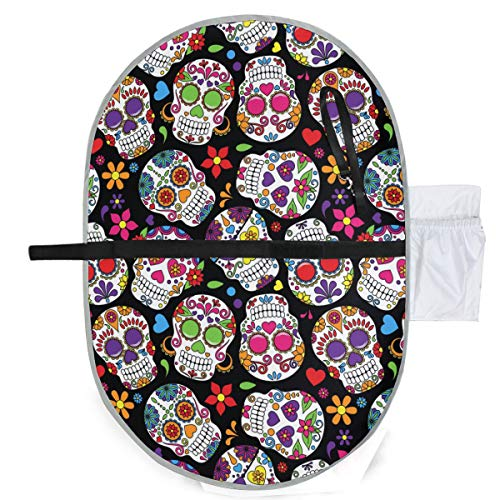 Day Of Dead Sugar Skull Waterproof Baby Changing Pad, Portable Diaper Changing Pad, Diaper Bag Mat, Foldable Travel Changing Station | Stroller Strap,Side Pocket For Wipes Diaper| For Infants & Newbor