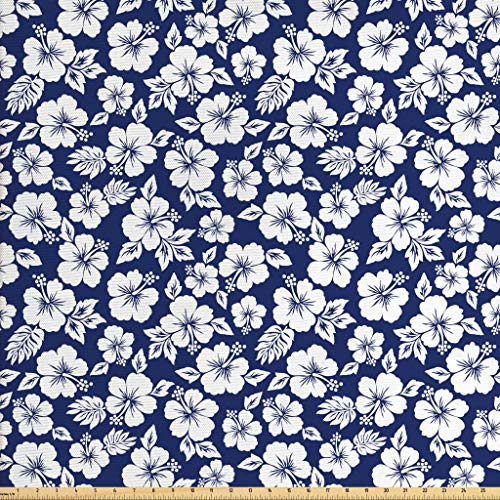 (Ambesonne Hawaii Fabric by The Yard, Hibiscus Silhouettes Flowering Mallow Family Plant Exotic Summer Season Foliage, Decorative Fabric for Upholstery and Home Accents, 1 Yard, Navy Blue White)