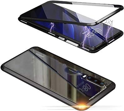 Jonwelsy Funda para Huawei P20 Lite, Adsorción Magnética Parachoques de Metal con 360 Grados Protección Case Cover Transparente Ambos Lados Vidrio Templado Cubierta para Huawei P20 Lite (Negro): Amazon.es: Electrónica