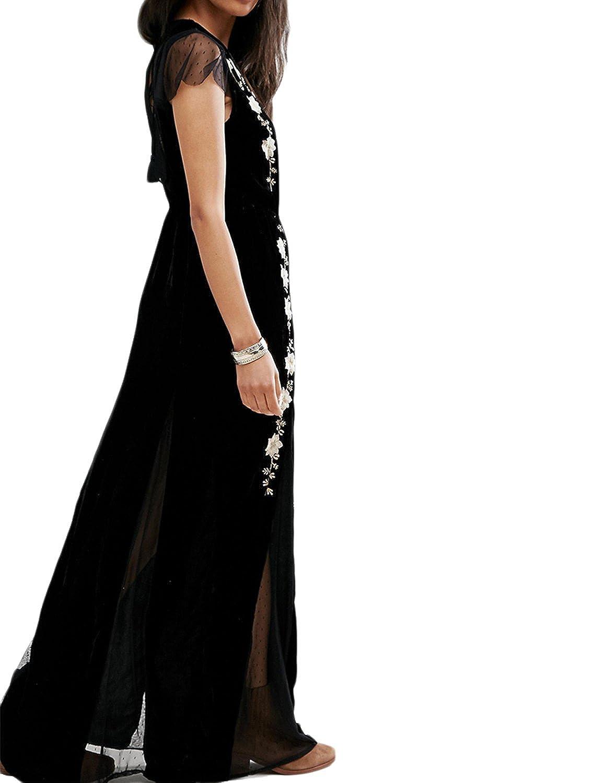 hodoyi Women Embroidery Mesh Patchwork V-Neck Backless Slit Side Velvet Maxi Dress