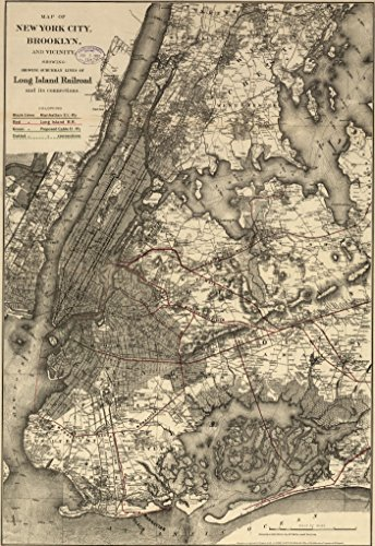"Historic Prints HP 16"" x 24"" 1885 Map of New York City Brooklyn & Vicinity Railroads Connection"
