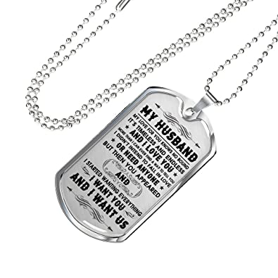 My Husband Dog Tag Pendant Necklace Unique Happy Birthday Gifts