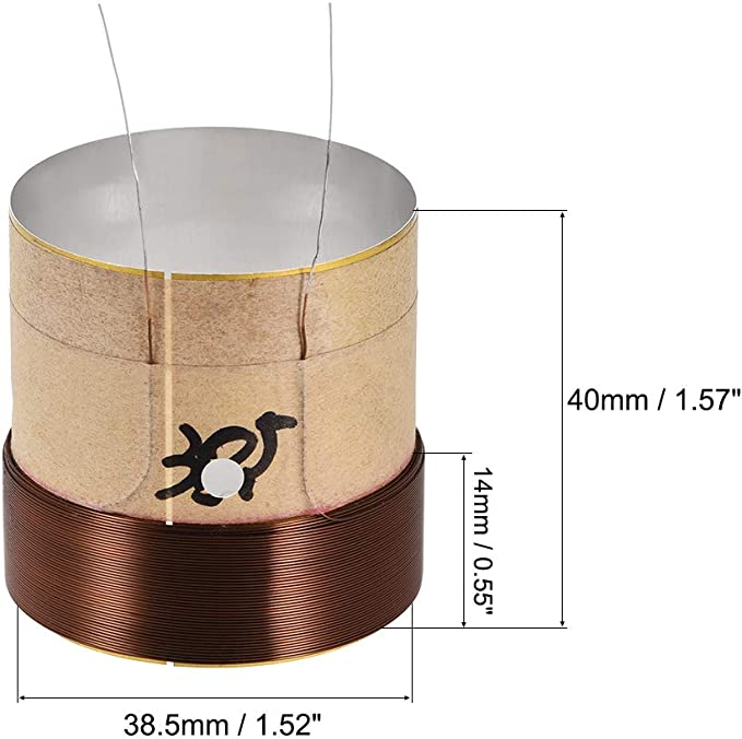 25.5mm 8 Ohm XISAOK Treble Voice Coil Reel,Core Round Brass Wire Woofer Voice Coil Aluminum for Speaker Repair