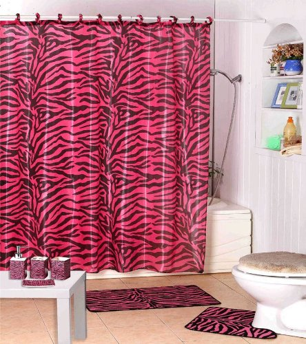 Shower Curtain Kids Jungle Safari Pink Zebra Design with Decorative Roller Rings/hooks by WPM