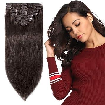 zum halben Preis suche nach original Qualität Clip in Extensions Echthaar günstig Haarverlängerung Remy Echthaar 8  Tressen 18 Clips Glatt 25cm-75g(#2 Dunkelbraun)