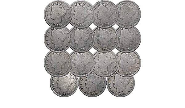 Collection of 15 Different Dates Good 1897-1911 LibertyV Nickels