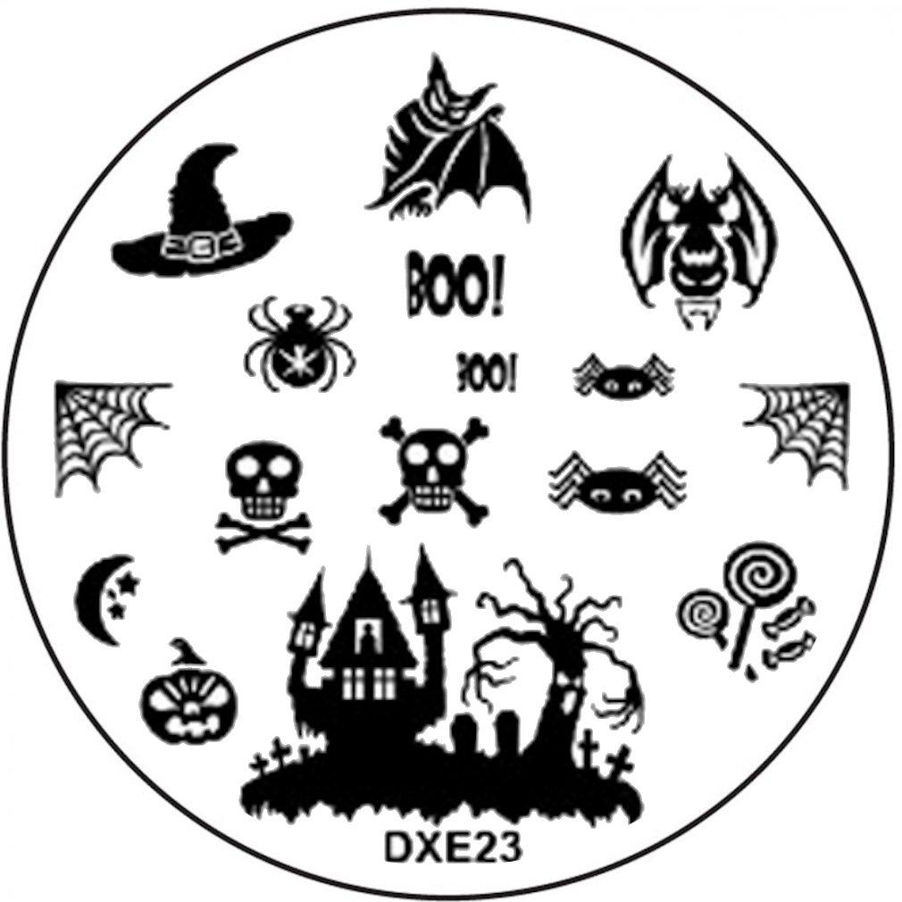 Stamping de plantilla # Dxe de 23Murciélago Halloween Bruja Espíritu Candado Boo. Telaraña araña calabaza Stamping-Nailart