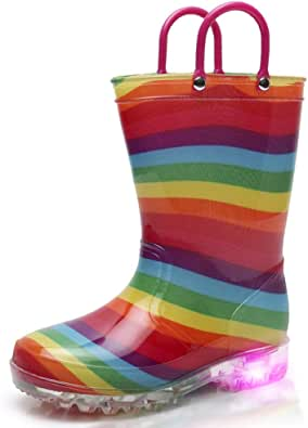 TRIPLE DEER Light Up Rainbow Rain Boots with Lights for Girls