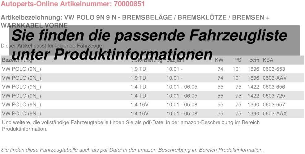 Warnkabel f/ür vorne Bremsbel/äge//Bremskl/ötze//Bremsen