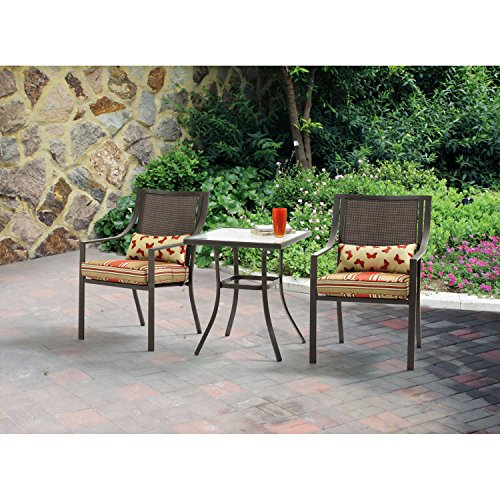 Mainstays Alexandra Square 3-Piece Outdoor Bistro Set, Red Stripe with Butterflies, Seats 2 (Furniture Garden Set Square)