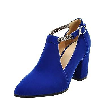 UH Damen High Heels T Strap Spitze Pumps mit Riemchen und Blockabsatz 8cm Ohne Plateau Nubukleder Schuhe