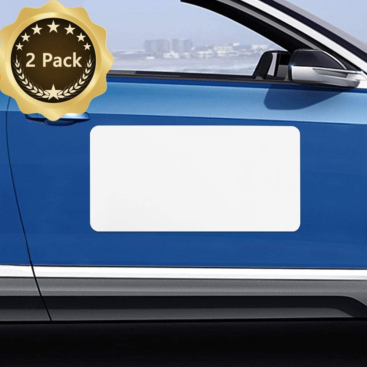 Blank Magnet for Car 2 Pack, Magnetic Sign for Vehicles, Business Signs for Car Doors, Magnetic Sheets to Cover Company Logo, Advertise Business, Prevent Scratches Rounded Corners
