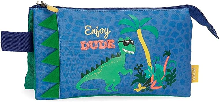Enso Estuche Tres Compartimentos Dino, Color Multicolor: Amazon.es: Equipaje