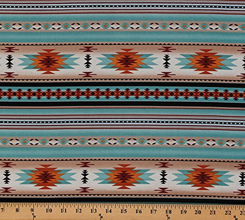 Cotton Southwestern Native American Aztec Tucson 201 Light Turquoise Stripes Pattern Cotton Fabric Print by the Yard (201-light-turq)