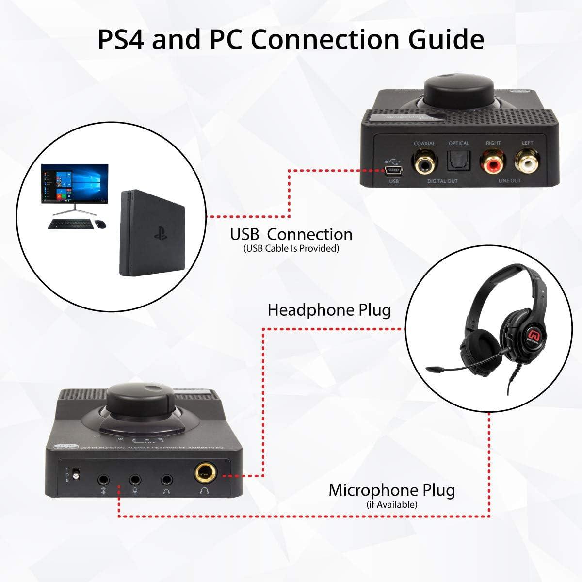 Syba Sonic Amplificador de Auriculares est/éreo 2 etapas, 96 KHz, USB DAC, Salida Digital//coaxial y Salida RCA