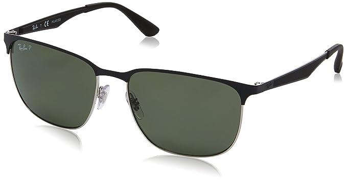 RAYBAN Unisex-Erwachsene Sonnenbrille RB3569, Schwarz (Silver Top Shiny Black/Darkgreenpolar), 59