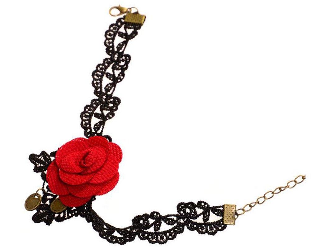 Hosaire Cha/îne de Cheville Femmes romantique Rouge fleurs et dentelle cha/îne R/églable cheville de Bijoux pour /Ét/é et plage Cadeau de lamour