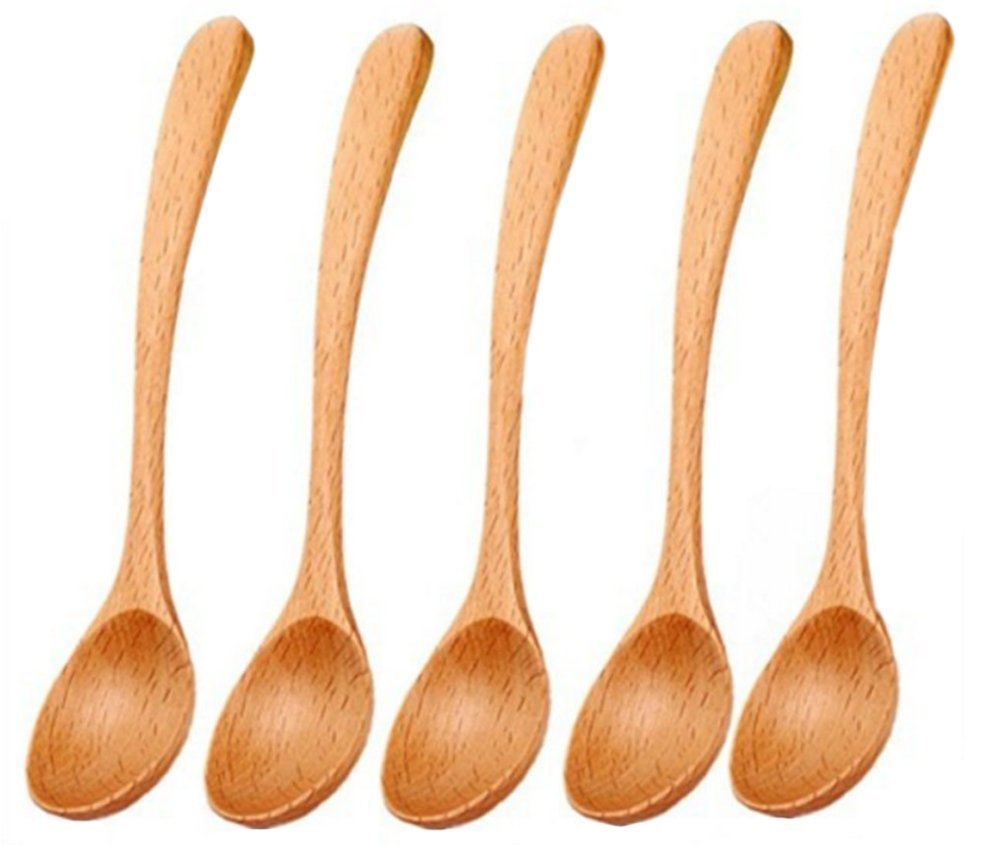 October Elf Sugar Coffee Middle Handle Wooden Spoons for Kids Eating,7.36 Inch,Pack of 4 (Baby Dinner Spoon)