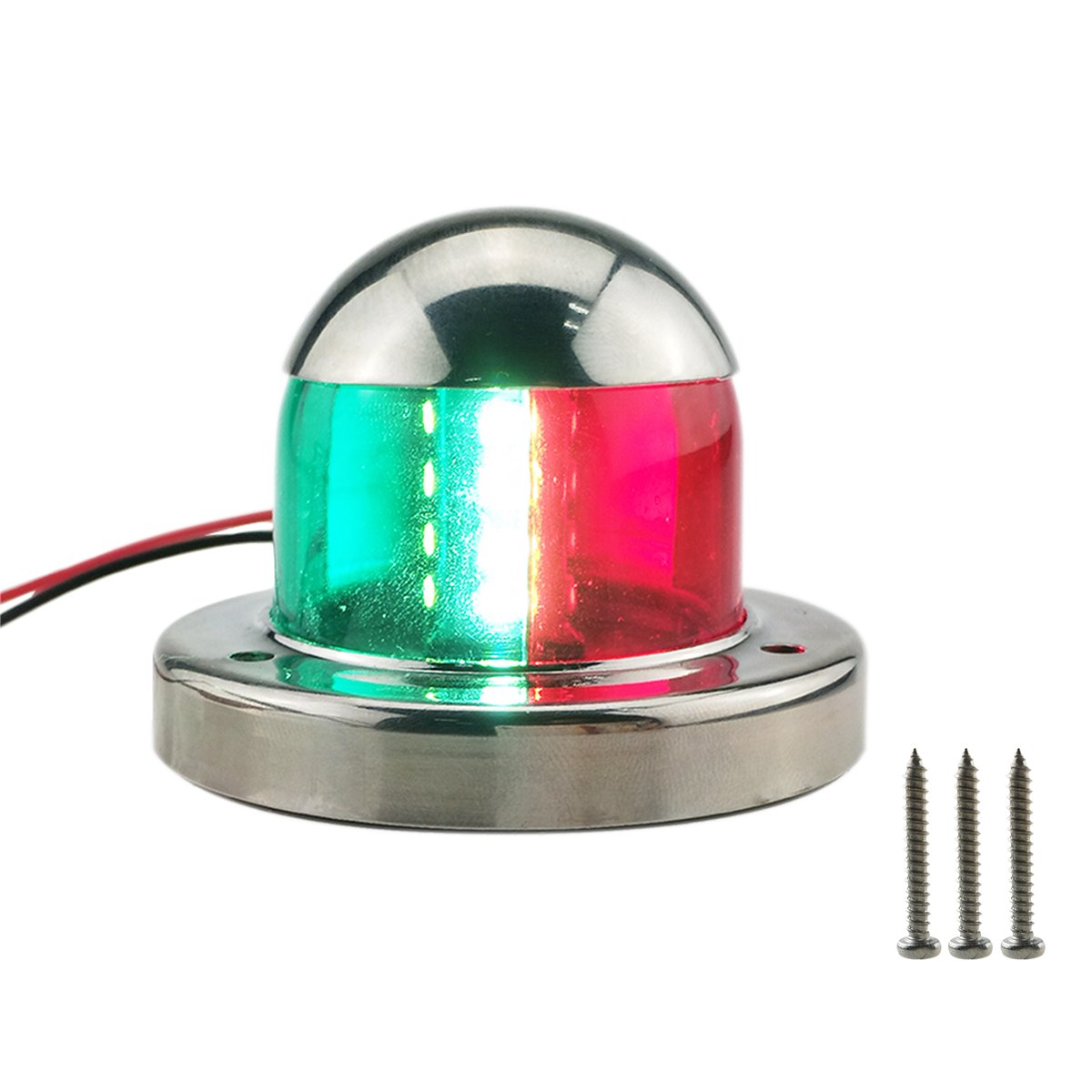 T Tocas 1 Pair DC12V Marine Boat Yacht LED Navigation Lights Stainless Steel Housing Rubber Gasket, Red & Green BNLD2944