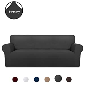 PureFit Super Stretch Chair Sofa Slipcover – Spandex Anti-Slip Soft Couch Sofa Cover, Washable Furniture Protector with Anti-Skid Foam and Elastic Bottom for Kids, Pets (Sofa, Dark Gray)