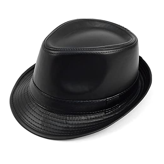 26da4f584288d FedoraSale Faux Leather Fedora Hat - Black at Amazon Men s Clothing store