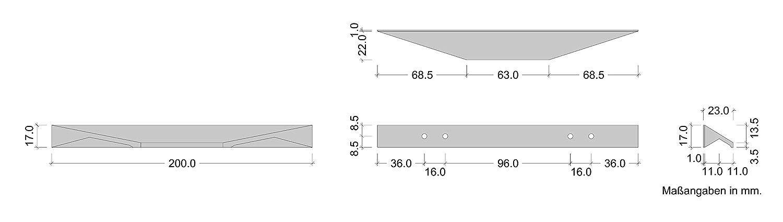 K/üchengriff f/ür Schubladen Alu Profilgriff mit L/änge 200 mm H10310 Schubladengriff eckig Moderner M/öbelgriff 96 /& 128 mm K/üche Griffleiste schwarz matt Design-Griff Aluminium 1 St/ück