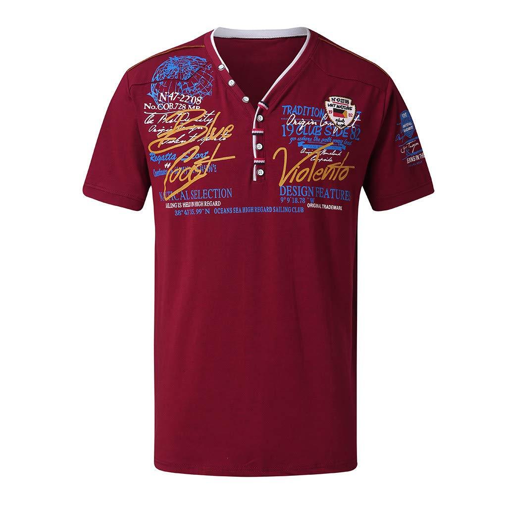 fc274f53 Mens Polo T Shirt Short Sleeve Summer Printing Tee Shirt Fashion Top Blouse  Fit at Amazon Men's Clothing store: