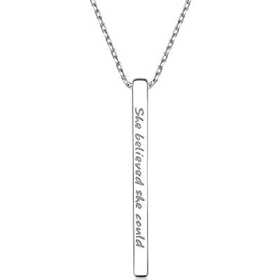 Personalized Bar Pendant Necklace Jewelry Engraved