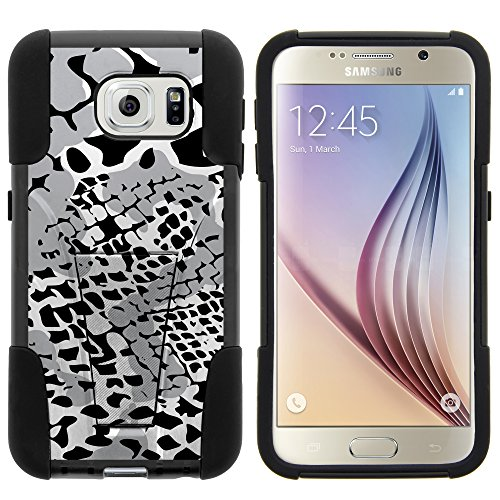 Samsung Galaxy S6 G920 (All Carriers) Hybrid Dual Layer Case w/Kickstand Cover Slim Fit Armor Skin, Bundle includes Free Screen Protector (BLACK GREY SNAKE SKIN CAMO) (Snakeskin Carrier)