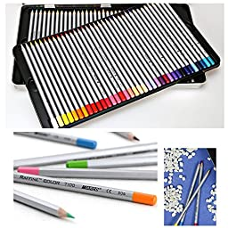 Soucolor 72 Art Grade Coloring Pencils with Metal Tin Marco Raffine Colored Drawing Pencils for Artwork Office Art Therapy Books (72 Colors with Tin)