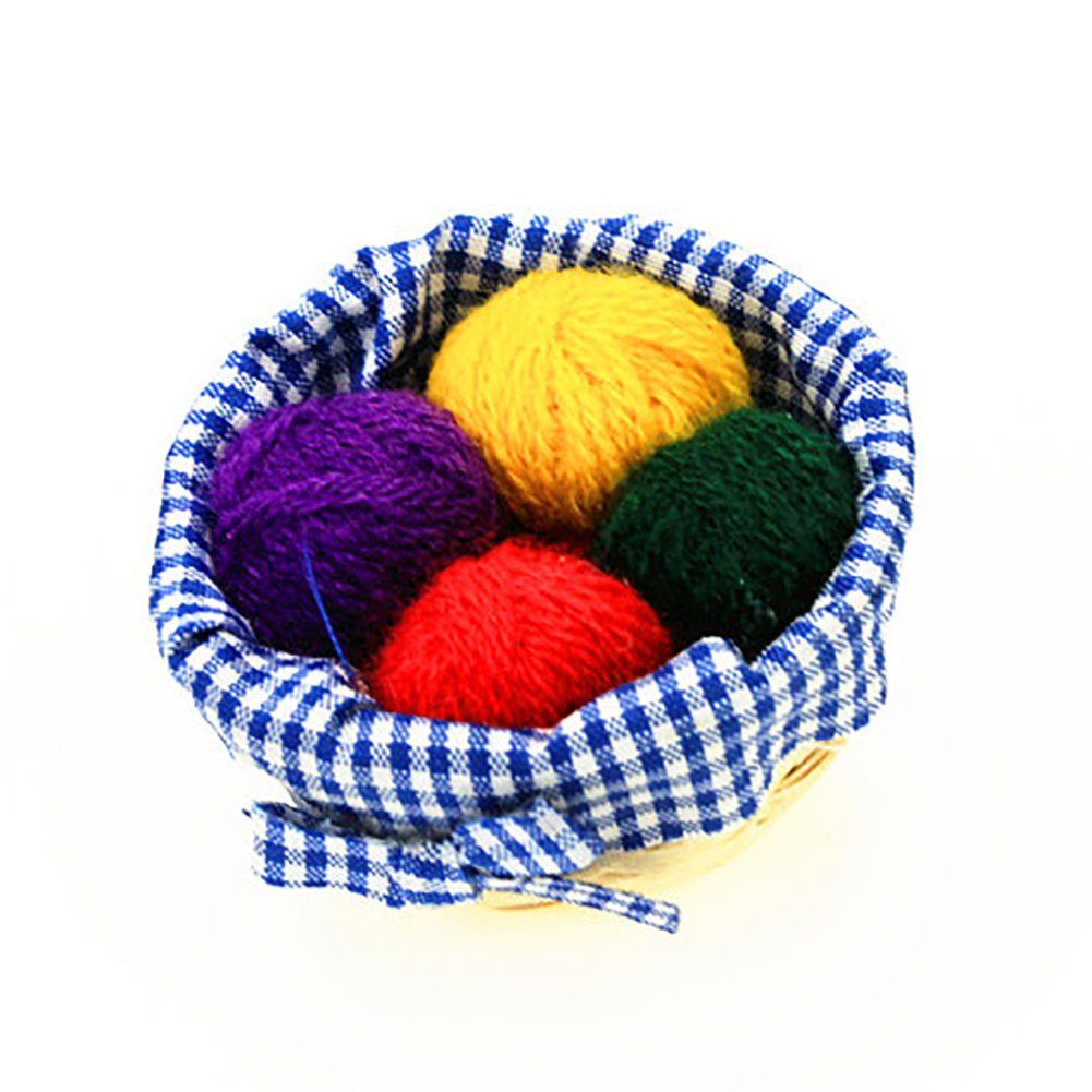 AkoMatial 1/12 Dollhouse Miniature Check Cloth Wool Basket Knit Tool Pretend Play Toys - Wool Basket size Wool Basket