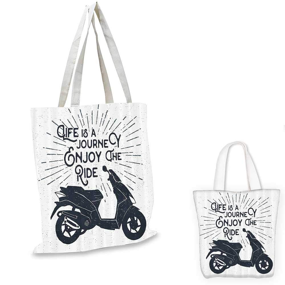 12x15-10 Quote canvas messenger bag Life is A Journey Enjoy the Ride Phrase with Motorcycle Motivational Hipster Illustration canvas beach bag Grey White