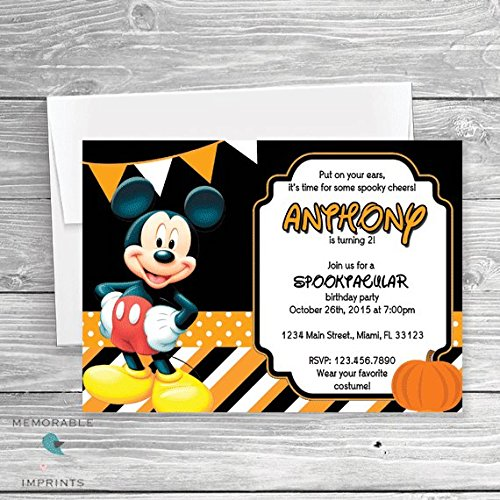Amazoncom Mickey Mouse Halloween Party Invitation Halloween - Halloween birthday invitations party