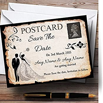 Black White Vintage Rustic Postcard Personalized Wedding Save The Date Cards