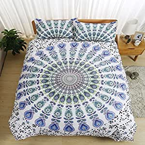 Bohemian mandala flower White/blue Home Comforter Bedding Sets Duvet Cover Sets Bedspread ,Flat Sheet, Shams Set 4Pieces,(Twin)for Adult Kids Teenage Teens