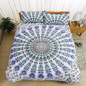 Bohemian mandala flower White/blue Home Comforter Bedding Sets Duvet Cover Sets Bedspread ,Flat Sheet, Shams Set 4Pieces,(Twin)for Adult Kids Teenage Teens