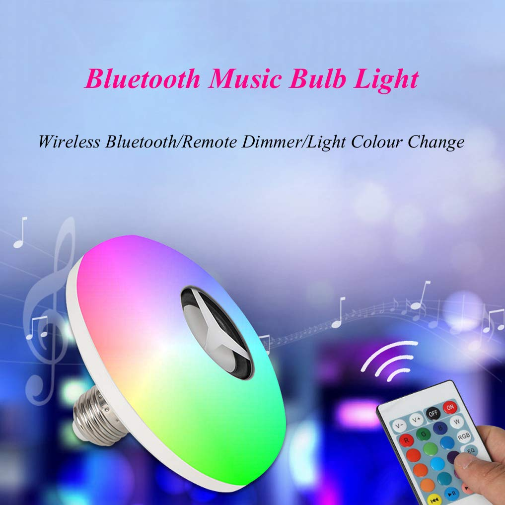 XMYX LED Gl/ühbirne mit Fernbedienung Farbwechsel Bluetooth Lautsprecher Farbige Leuchtmittel Dimmbar LED RGB Lampe f/ür Home Stage Bar Party Festival Dekoration E27 Halter