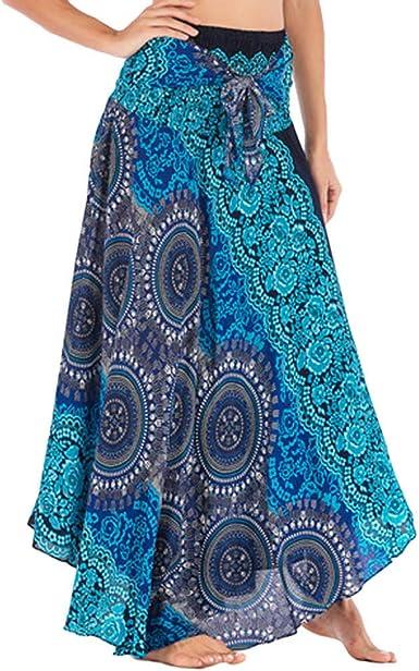 GYYWAN Moda Gypsy Boho Flores Elástico Largo Hippie Bohemio ...