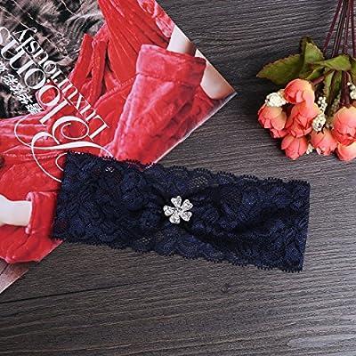 TiaoBug Floral Lace Trim Wedding Bridal Garter Party Prom Garter Belt With Rhinestone Flower