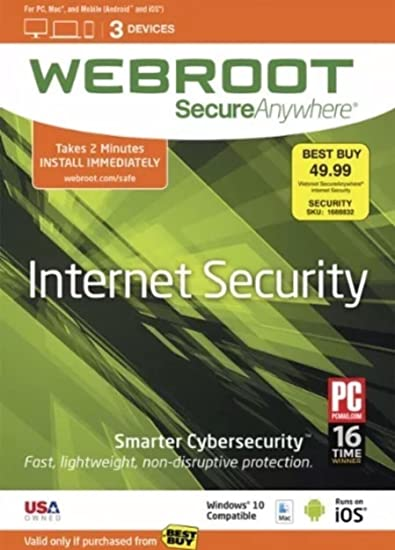 Amazon com: Webroot SecureAnywhere Internet Security (3