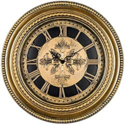 Bernhard Products Decorative Wall Clock 20 Inch Luxury Gold Antique Style Silent Non Ticking Battery Operated Quartz, Roman Numerals Vintage for Home Kitchen Living Room Dining Room & Over Fireplace