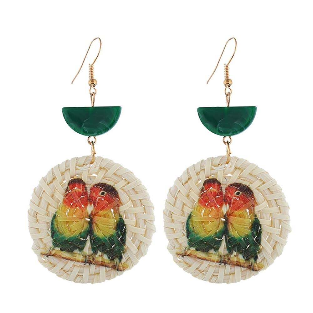 Rattan Earrings Hot Fashion Simple Round Earring Wild Ladies Jewelry Parrot pattern earrings for women 2020 statement Pendientes 2