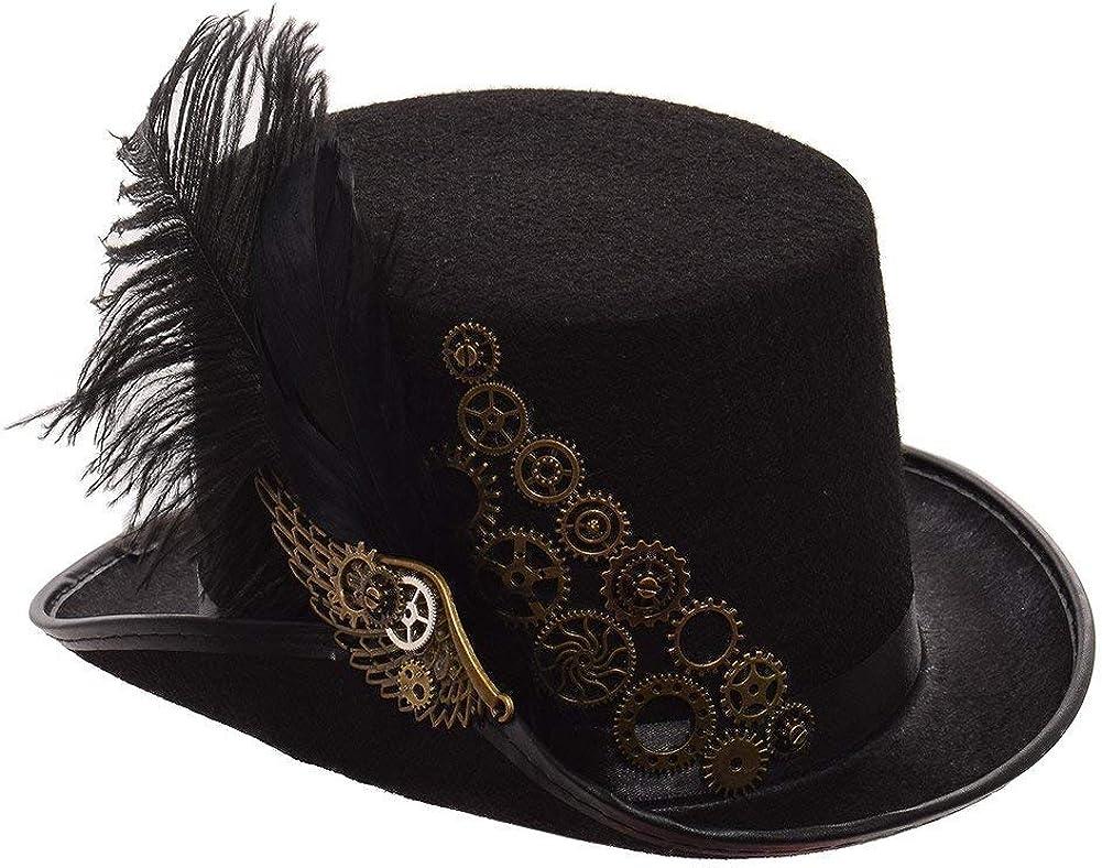 GRACEART Steampunk Negro Pluma Engranajes Parte Superior Sombrero