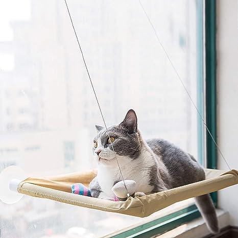 Sunshine D Hamaca para Ventana de Gato, Cama Cómodo Colgante con 4 Ventosas Grandes para Gatos ...