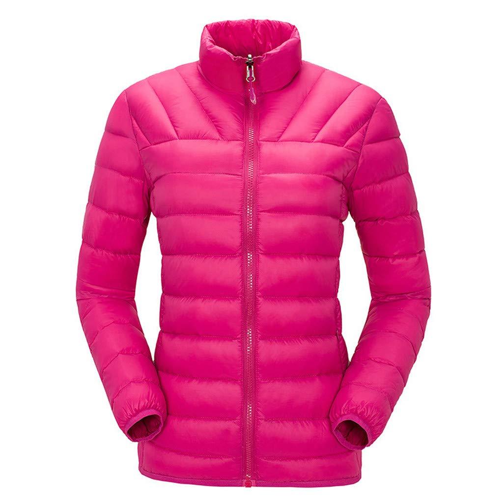 〓COOlCCI〓Women's Down Jackets & Parkas, Packable Ultra Light Weight Short Down Jacket Outerwear Outdoor Recreation Down Hot Pink by COOlCCI_Womens Clothing