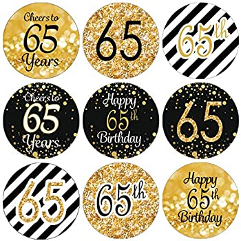 DISTINCTIVS Black And Gold 65th Birthday Party Favor Labels