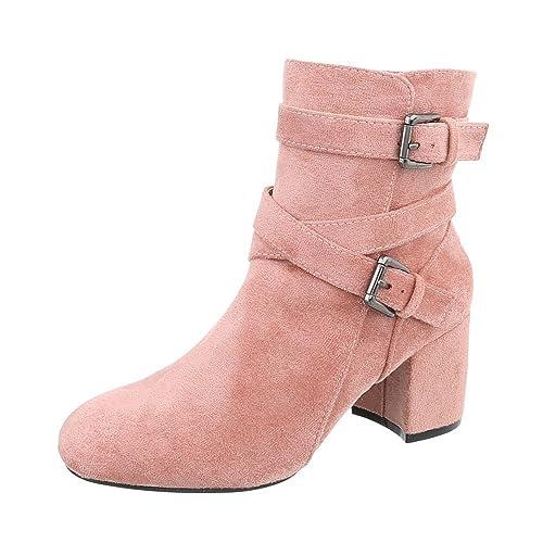 Zapatos Para Mujer Botas Mini Tacón Botines Clásicos Rosa Tamaño 41: Amazon.es: Zapatos y complementos